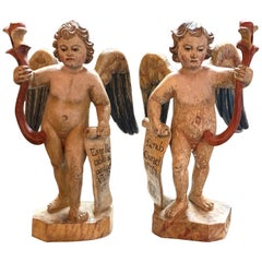 Pair of 19th Century Italian Carved and Painted Cherubs