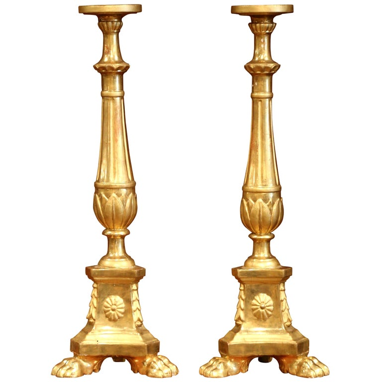 Pair of 19th Century Italian Carved Giltwood Cathedral Candlesticks For Sale