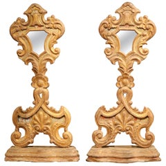 Pair of 19th Century Italian Carved Giltwood Church Reliquary Mirrors on Stand