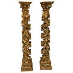 Pair of 19th Century Italian Carved Giltwood Columns