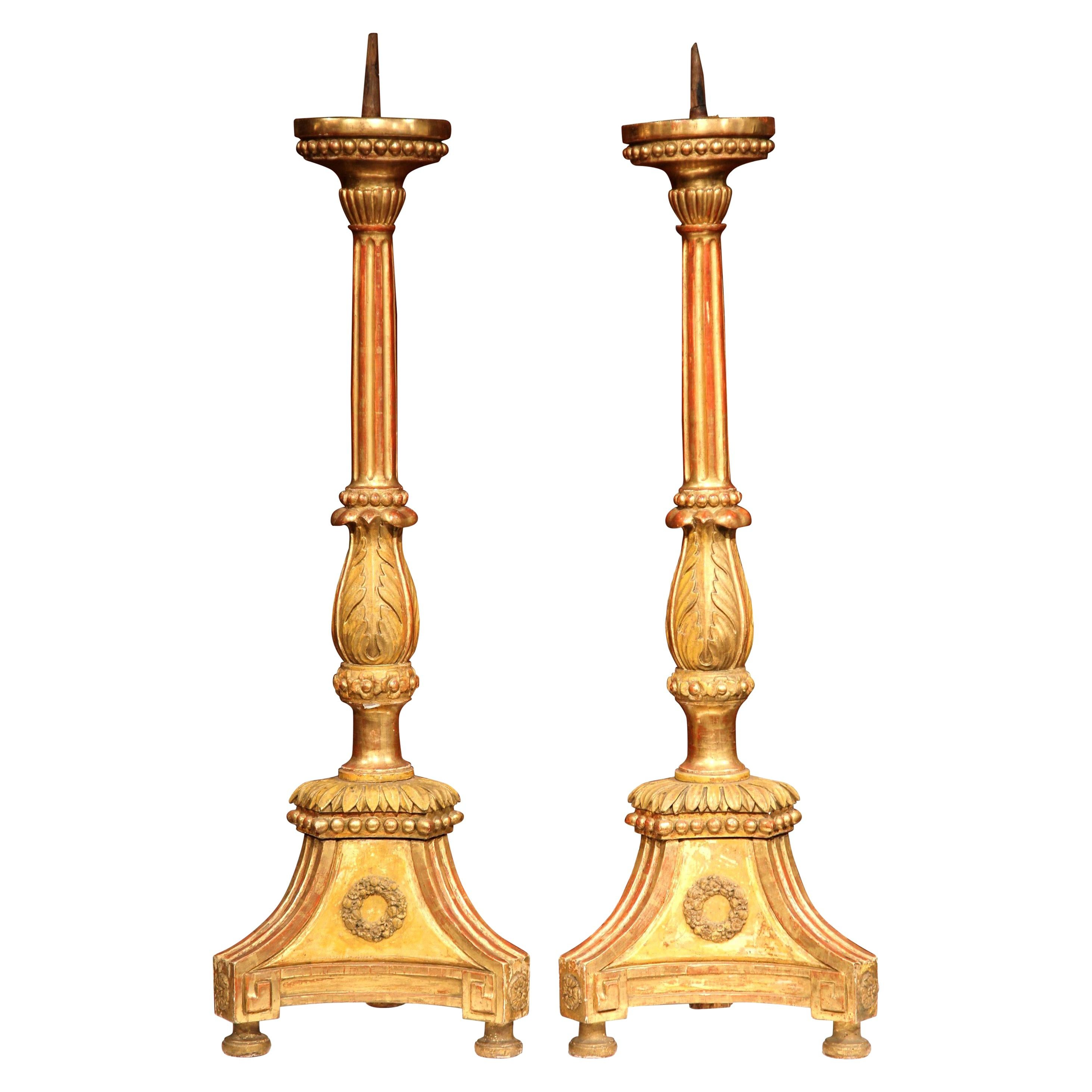 Pair of 19th Century Italian Carved Giltwood Prickets Altar Candlesticks