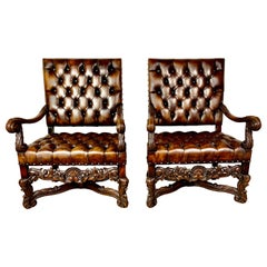 Pair of 19th Century Italian Carved Leather Tufted Armchairs