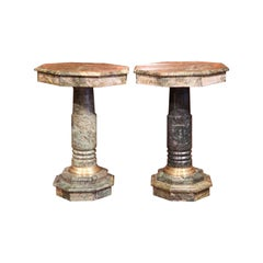 Pair of 19th Century Italian Carved Marble Octagonal Pedestal Side Tables