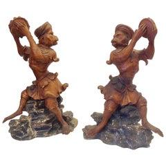 Pair of 19th Century Italian Carved Monkeys
