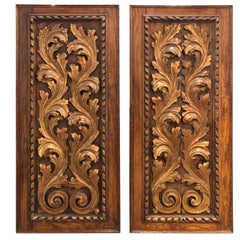 Pair of 19th Century Italian Carved Oak Baroque Panels