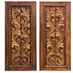 Pair of 19th Century Italian Carved Oak Baroque Panels