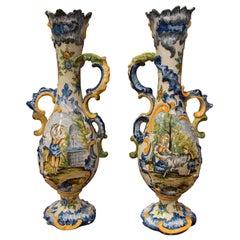 Pair of 19th Century Italian Carved Painted Ceramic Vases