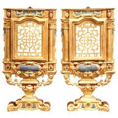Pair of 19th Century Italian Carved Polychrome and Gilt Wall Carvings
