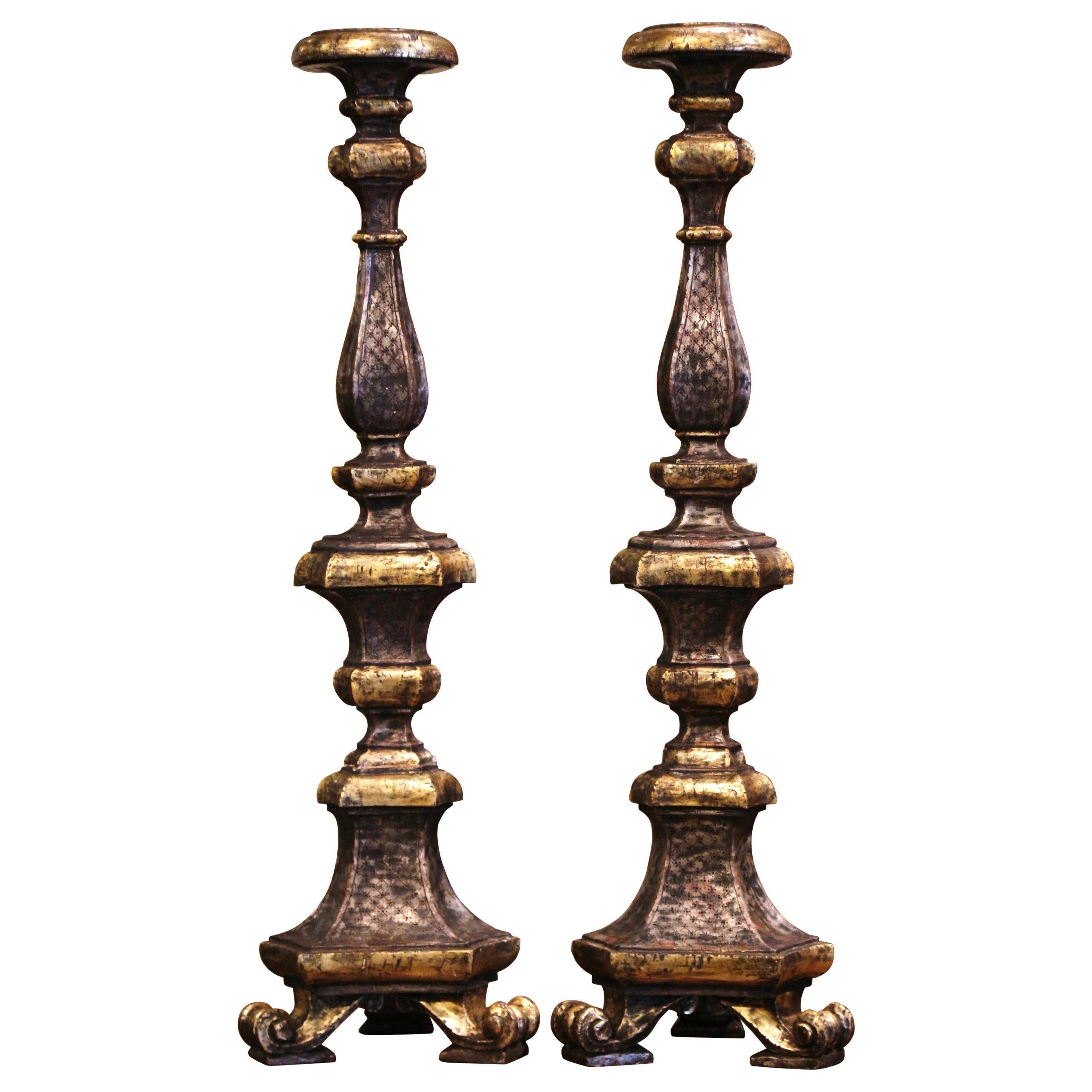 Pair of 19th Century Italian Carved Two-Tone Giltwood Cathedral Candlesticks