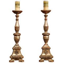 Pair of 19th Century Italian Carved Two-Tone Silver Leaf Candlesticks Prickets
