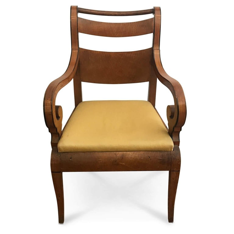 A pair of early 19th century Charles X Genoese  maple  armchairs, two maple veneer Ligurian armchairs,  to be restored.  With a soft and elegant line and a solid  structure, beautiful curled  arms with colored ebonized profiles, this pair of antique