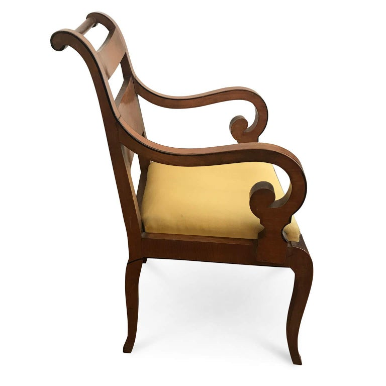 Veneer Italian Pair of Armchairs 19th Century Charles X Genoese Maple Armchairs For Sale