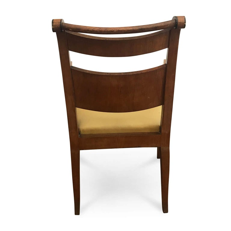Italian Pair of Armchairs 19th Century Charles X Genoese Maple Armchairs For Sale 2