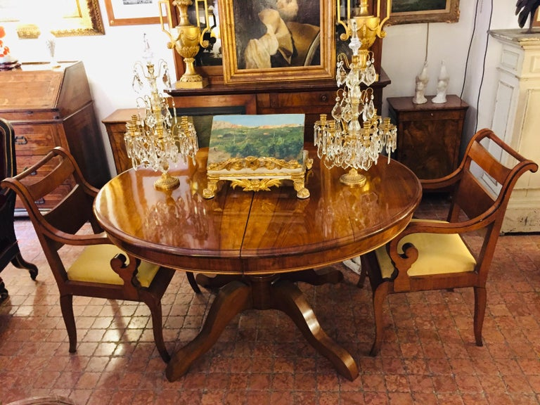 Italian Pair of Armchairs 19th Century Charles X Genoese Maple Armchairs For Sale 3