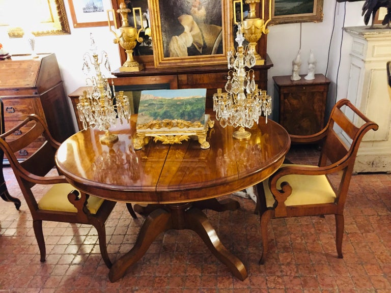 Italian Pair of Armchairs 19th Century Charles X Genoese Maple Armchairs For Sale 5
