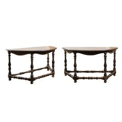 Pair of 19th Century Italian Demilune Tables with Carved Décor and Turned Base