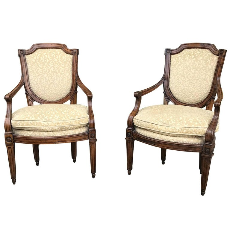 Pair of 19th Century Italian Directoire Style Armchairs, Shield Back