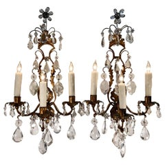 Pair of 19th Century Italian Gilt Tôle Rock Crystal Sconces