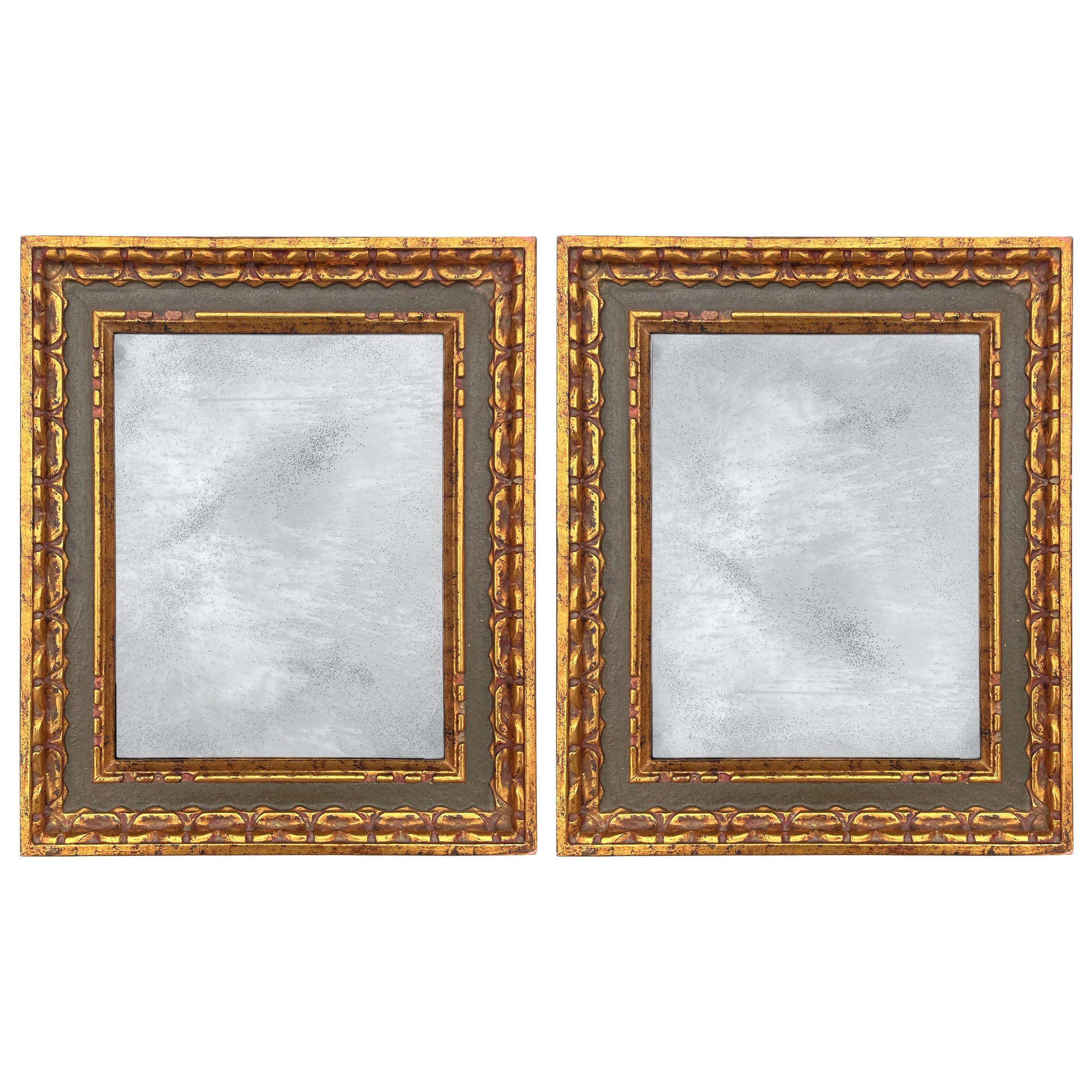 Pair of 19th Century Italian Gilt Wood Framed Mirrors