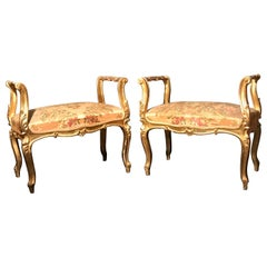 Pair of 19th Century Italian Gilt-Wood  Window Benches or Settees