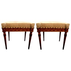 Pair of 19th Century Italian Giltwood Benches or Ottomans