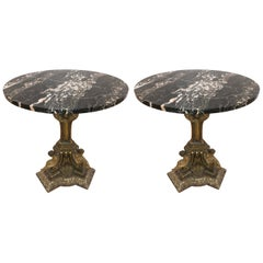 Pair of 19th Century Italian Giltwood Marble-Top Pedestal Tables