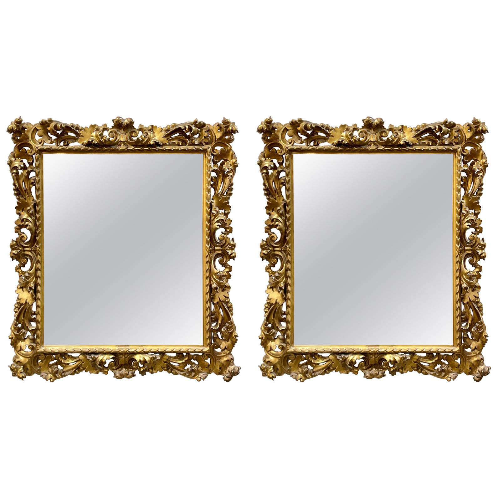 Pair of 19th Century Italian Gold Gilded Florentine Framed Mirrors