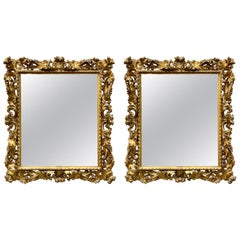 Pair of 19th Century Italian Gold Gilded Florentine Framed Mirrors