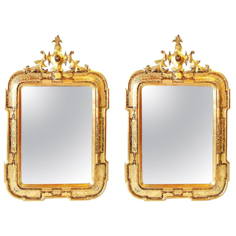 Pair of 19th Century Italian Gold Venetian Mirrors