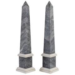 Pair of 19th Century Italian Grand Tour Bardiglio Marble Obelisks