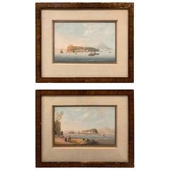 Pair of 19th Century Italian Grand Tour Gouaches of the Bay of Naples