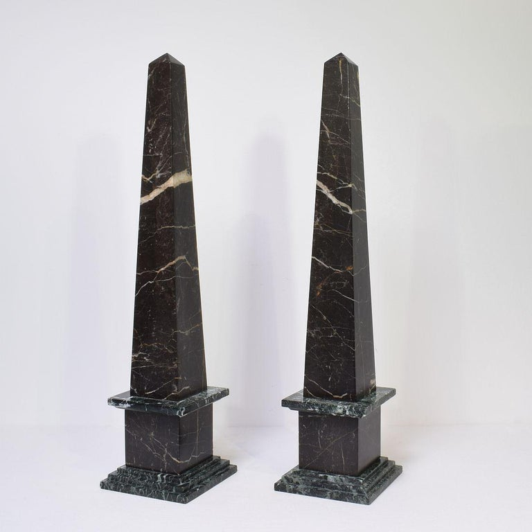 Beautiful pair of marble obelisks.