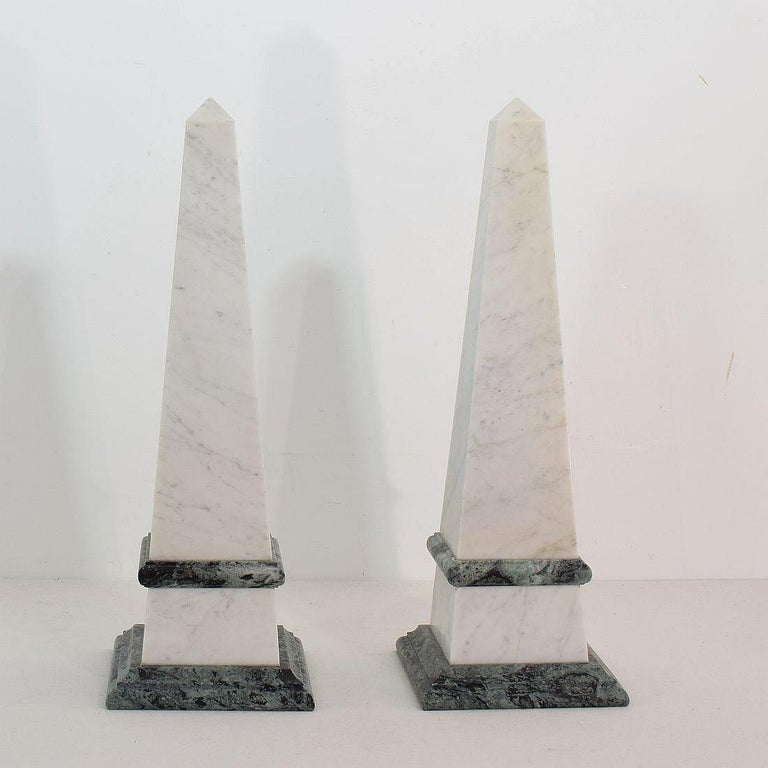 Beautiful pair of marble obelisks. Italy, circa 1850-1900 Despite of their age in good condition.
