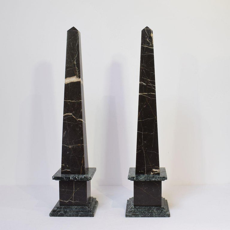 Pair of 19th Century Italian Grand Tour Marble Obelisks For Sale 1