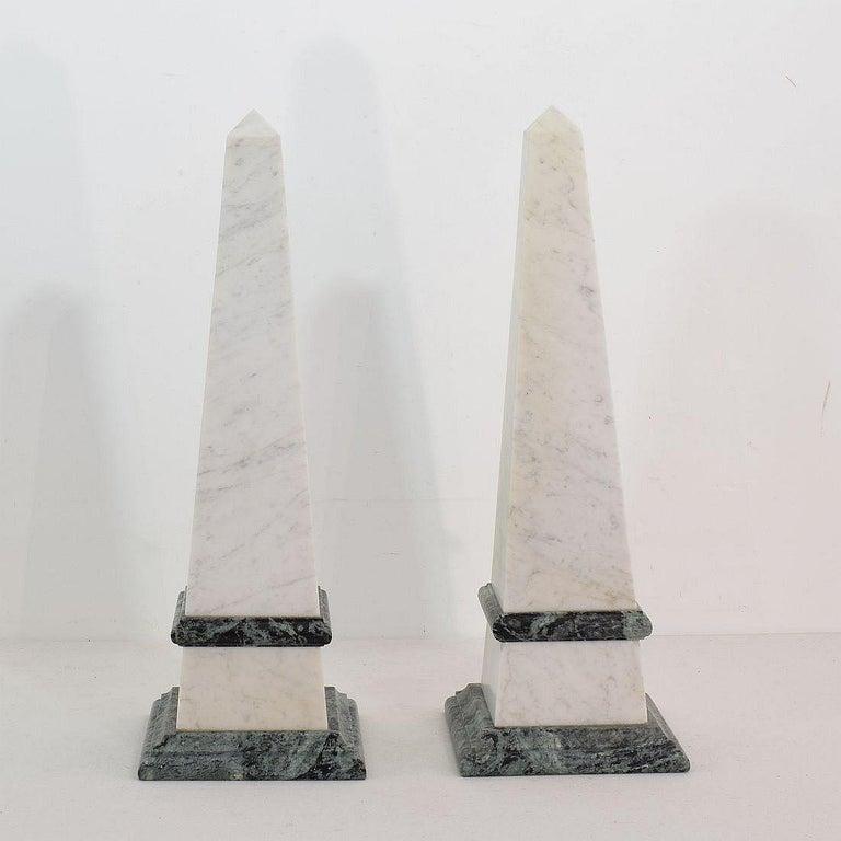 Pair of 19th Century Italian Grand Tour Marble Obelisks For Sale 1