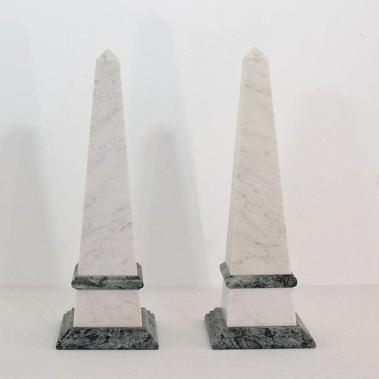 Pair of 19th Century Italian Grand Tour Marble Obelisks For Sale 2