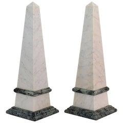 Pair of 19th Century Italian Grand Tour Marble Obelisks
