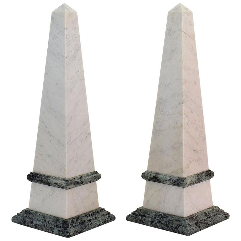 Pair of 19th Century Italian Grand Tour Marble Obelisks For Sale