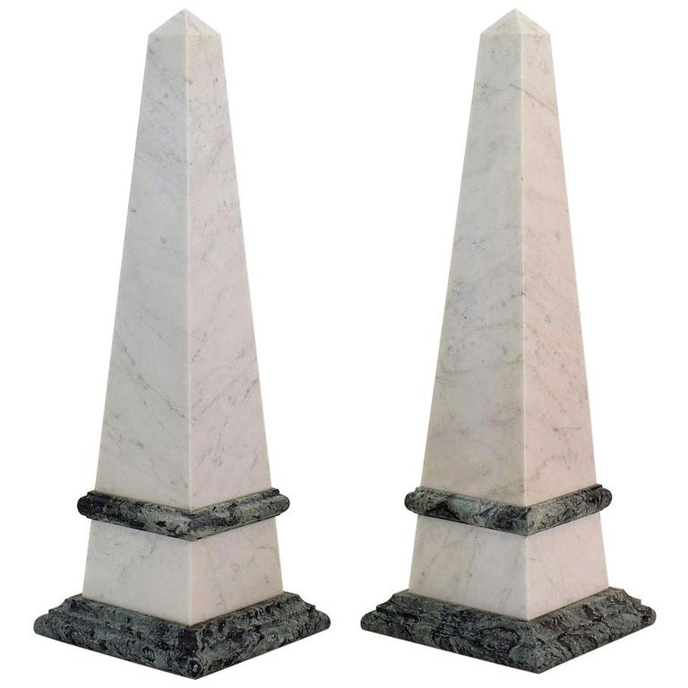 Pair of 19th Century Italian Grand Tour Marble Obelisks For Sale