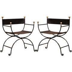 Pair of 19th Century Italian Iron and Black Leather Folding Campaign Chairs