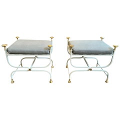 Pair of 20th Century Italian Iron Savonarola Benches, circa 1940s