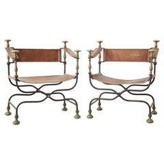 Pair of 19th Century Italian Iron Savonarola Dante Chairs