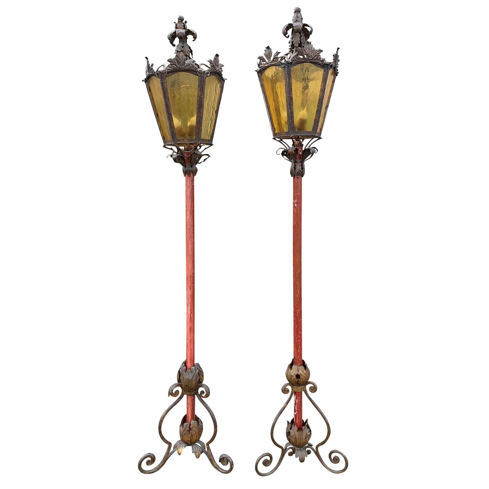 Pair of 19th Century Italian Lanterns on Wooden Pole, Beautiful Bases