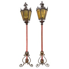 Pair of 19th Century Italian Lanterns on Wooden Pole, Beautiful Bases