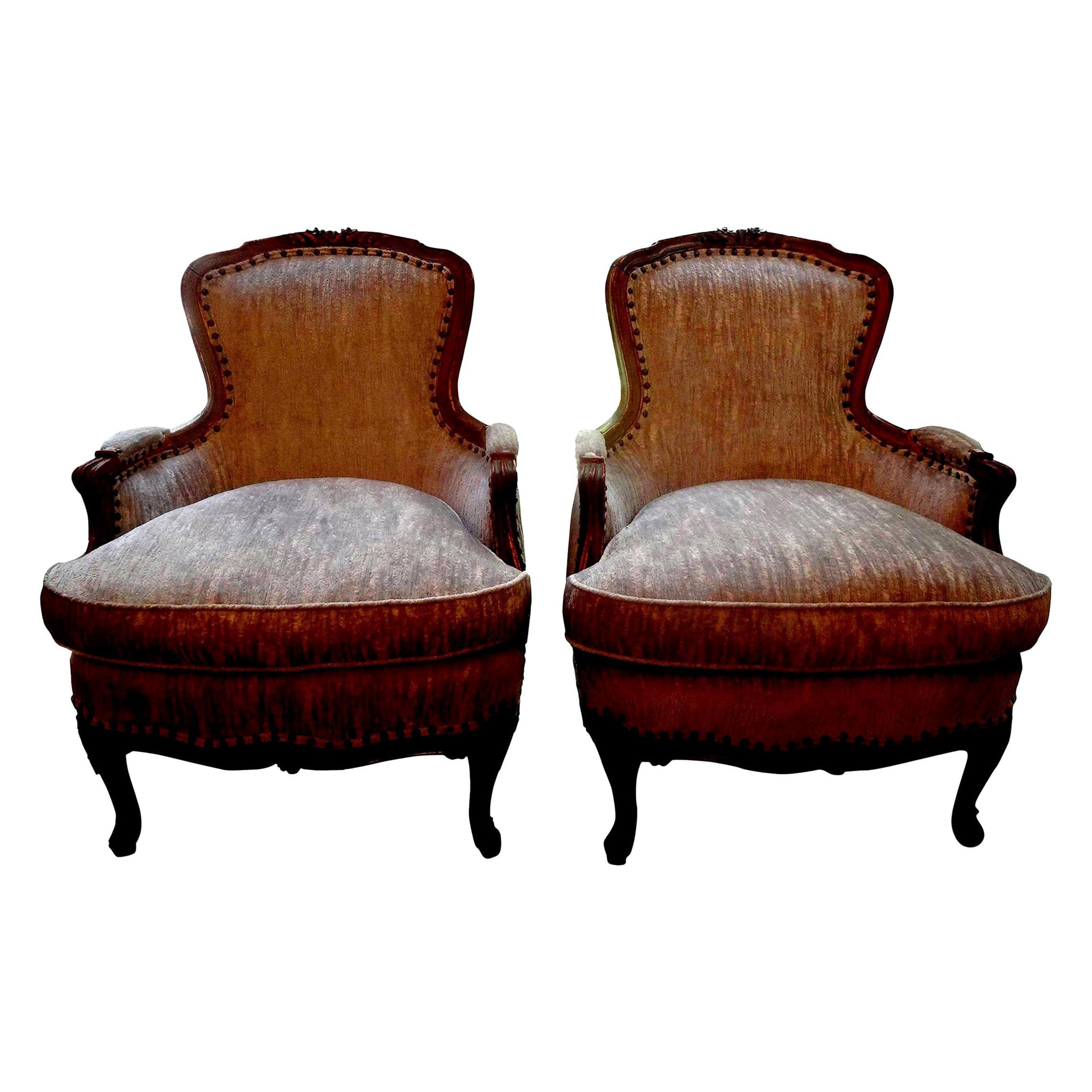 Pair of 19th Century Italian Louis XV Style Bergères