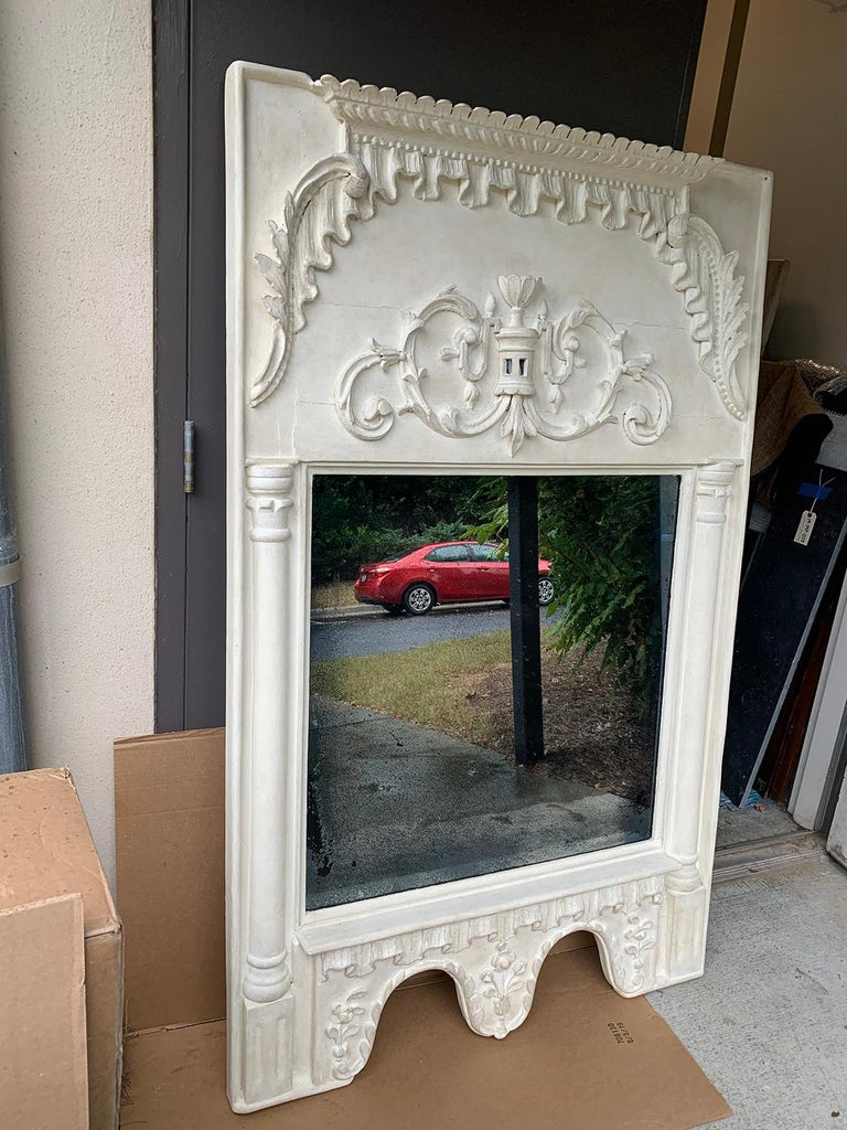 Hand-Painted Pair of 19th Century / 20th Century Italian Hand Carved Mirrors  Custom Finish For Sale