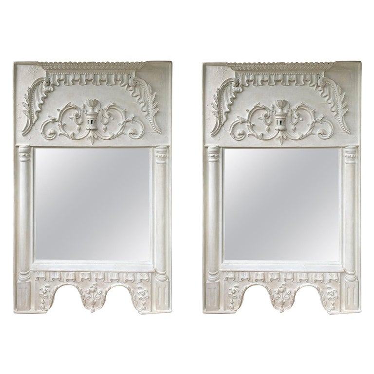 Pair of 19th Century / 20th Century Italian Hand Carved Mirrors  Custom Finish For Sale