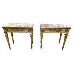 Pair of 19th Century Italian Neoclassical Carved and Painted Consoles