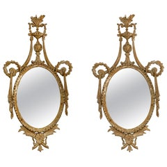 Pair of 19th Century Italian Neoclassical Carved and White Washed Mirrors