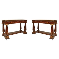 Pair of Italian Neo-Classic Rosewood Chinoiserie Console Tables